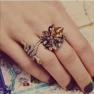 Jewelry - 💎 Stunning Fall Cluster Floral Blue Gold Ring
